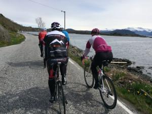 C4U gruppen på vei mot fjellovergangen i retning Våge. Kvinnheradsfjellene i bakgrunnen
