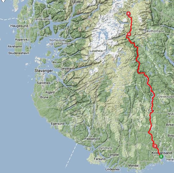 Påmeldt Color Line Setesdal Tour: Kristiansand – Hovden ( 21 mil )